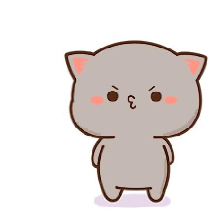 Анимация Серый котенок что-то приуныл