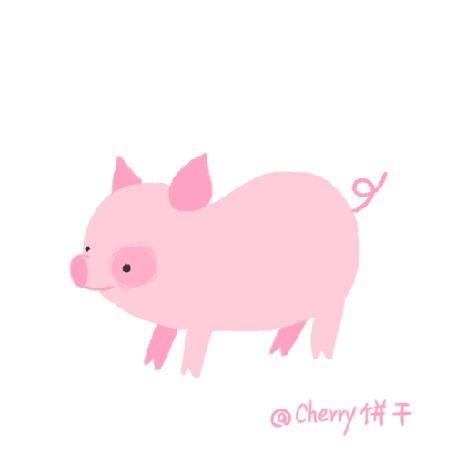 Анимация Свинка вытряхивает из себя сердечки, by ChenHanxu