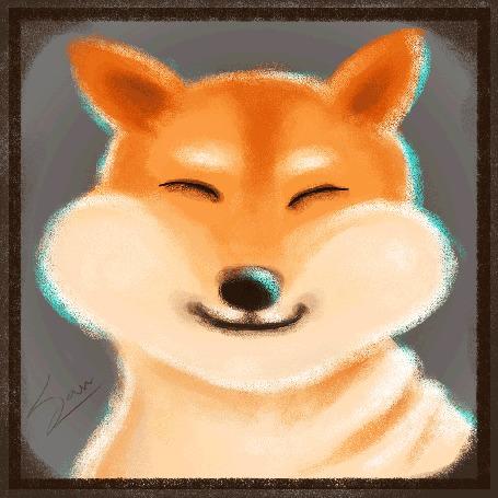 Анимация Радостная собака породы акита-ину, by San S. Karan