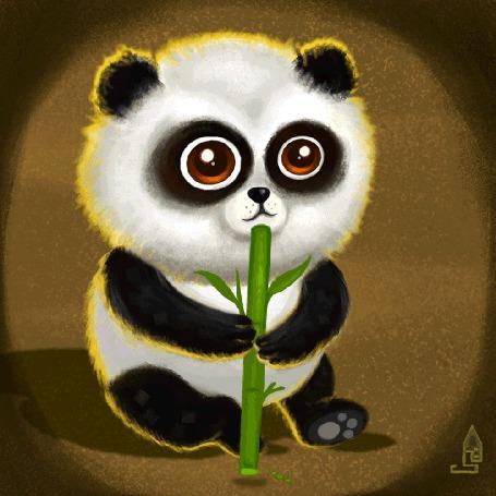 Анимация Панда жует веточку бамбука, by San S. Karan