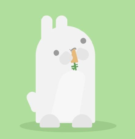 Анимация Кролик жует морковь, by Sharon Brown