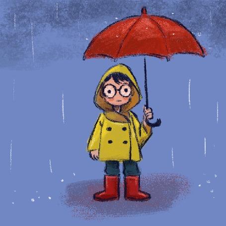 Анимация Мальчик с красным зонтиком под дождем, by Dayane Ayres