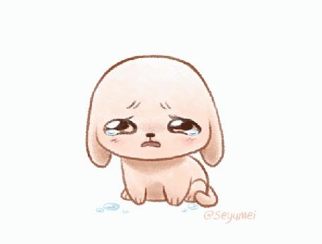 Анимация Плачущий на белом фоне щенок, by Seyumei
