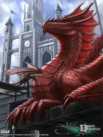 Анимация На фоне дневного неба и замка лежит на каменных плитах большой взрослый красный дракон и малыш дракон стоящий на деревянном мосту, ведущий в этот замок, игра Dragon Chronicles