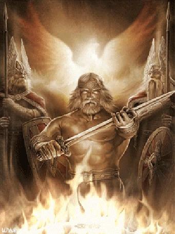 Анимация Славянские боги у священного огня, художник Игорь Ожиганов