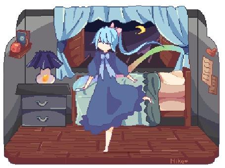 Анимация Длинноволосая девушка бегает по комнате с лентой, by CuteNikeChan