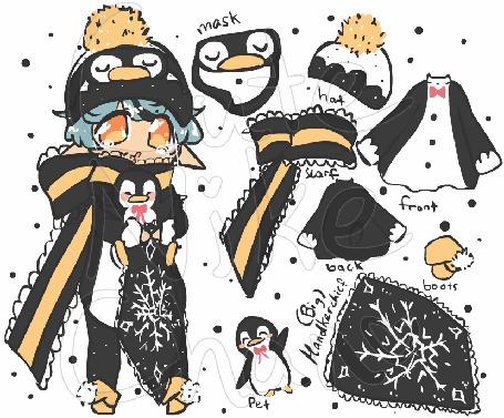 Анимация Голубоволосый чибик в шапочке пингвина, by CuteNikeChan