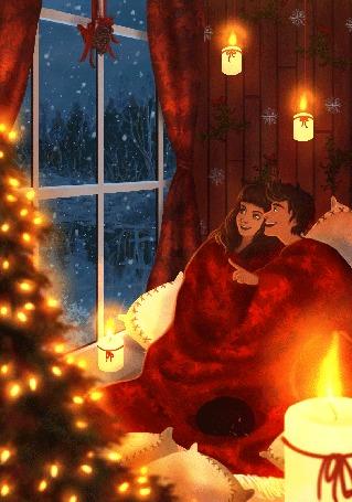 Анимация Девушка с парнем сидят у окна и любуются падающим снегом, by Elena Brighittini