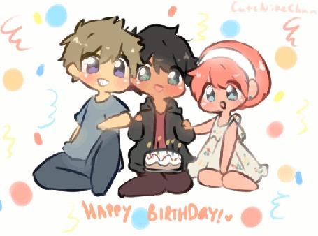 Анимация Три чибика отмечают день рождения, by CuteNikeChan