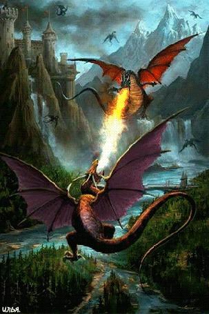 Анимация Разразившаяся битва между двумя драконами в дневное время суток, на фоне облачного неба над которым летают другие драконы, а также на фоне с высоты птичьего полета лесного массива, протекающей реки и реки и двух ее притоков, водопадов, виднеющихся со стороны утесов, гор и замка, самих гор виднеющихся вдали и расположившегося где-то в скалах огромного королевского замка, стоящего неподалеку