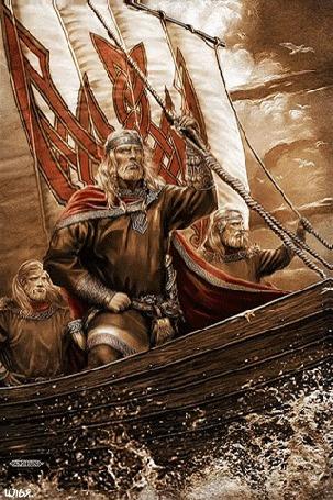Анимация Трое викингов-мужчин на своем драккаре, держась крепко за его мачту, плывут по морю под облачным небом темно-коричневых оттенков, над которым едва заметно пролетает небольшая стая чаек / Картинка автора Игоря Ожиганова