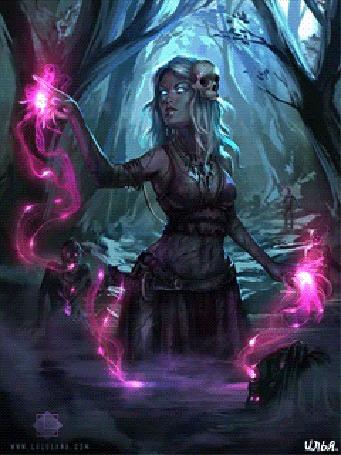 Анимация В дневное время суток, в глухом темном лесу, куда едва пытается пробиться солнечный свет и куда побоялся прийти обычный человек, здесь на глубоком, дурнопахнущим и очень страшном болоте, темная беловолосая волшебница с черепом-левом виске, при помощи своей черной магии, призывает воинов-мертвецов восстать из земли и болота