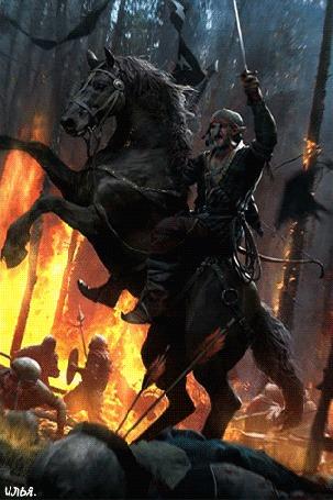 Анимация Всадник с поднятым мечом в левой руке на своем черном коне, в дневное время суток, на поле битвы, в полыхающем лесу, воздух где был уже пропитан едким дымом и куда едва проникал дневной солнечный свет из-за пожара, в котором разразилась смертельная битва между воинами и в которой участвовал он сам