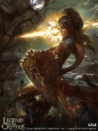 Анимация В ночное время суток, на поле сражения, воительница, держа в в левой руке щит, бросает сверкающее молниями магическое копье в своих противников / Из игры The Legend Of The Cryptids