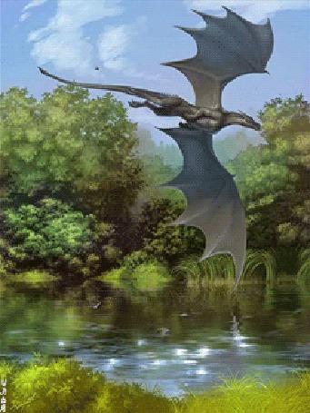 Анимация Дракон летит вдоль протекающей через лес речки в дневное время суток