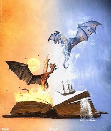 Анимация Ожившие из книги, представляющие жаркий и холодные миры два дракона, парящие над ней, на фоне горящего огня и песчаной бури на одной странице книги и ожившего плывущего фрегата, а также падающего водопада и ветра на другой странице этой книги