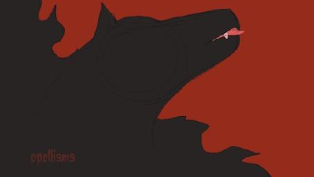 Анимация Адский пес облизывается и на его шкуре появляются красные глаза, by opellisms