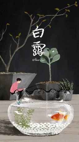 Анимация Парень с удочкой сидит на краю аквариума, в котором плавает золотая рыбка, by Paco-Yao