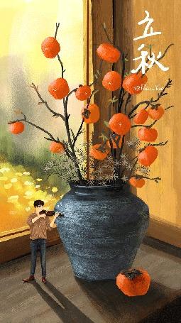 Анимация Парень возле вазы с сухоцветами и веточками с желтыми плодами играет на скрипке, by Paco_Yao