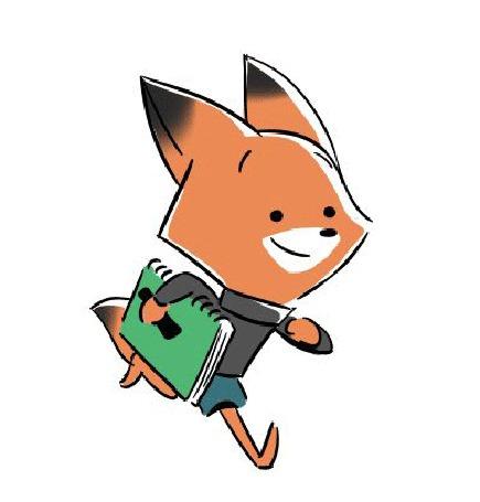 Анимация Лисенок с блокнотом куда-то бежит