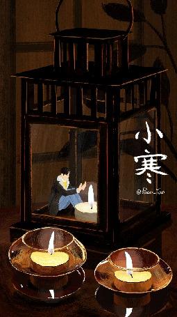 Анимация Парень греет руки над огнем свечи внутри фонаря, by Paco_Yao