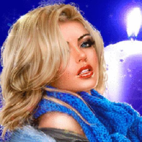 Анимация Девушка в синем шарфе
