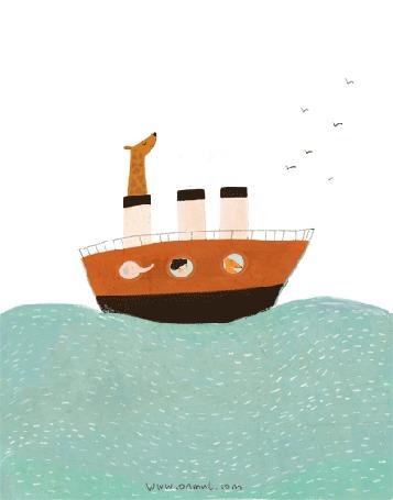 Анимация Жираф, слон, лиса и мальчик путешествуют на корабле, by oamul