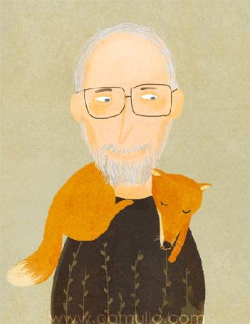 Анимация Лиса спит на плечах мужчины в очках, by oamul
