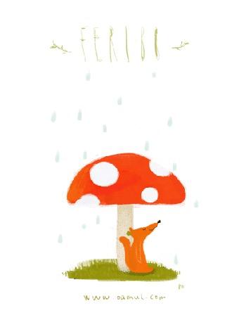 Анимация Лисичка прячется от дождя под обалденным мухомором,(Feribo), by Oemul