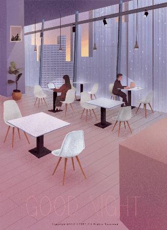 Анимация Двое посетителей за ноутбуками в кафе с панорамными окнами, by GOOD NIGHT