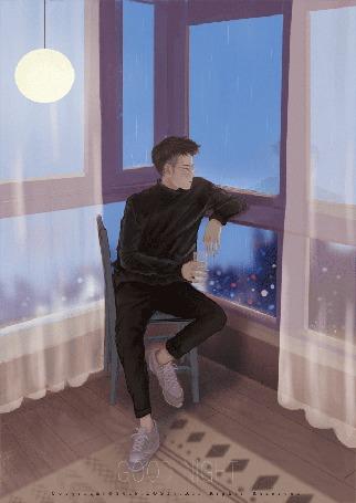 Анимация Парень смотрит на дождь за окном, by GOOD NIGHT