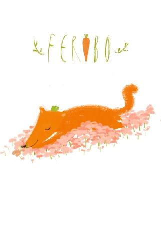 Анимация Лисичка спит на розовых цветах и хитро шевелит хвостом, призывая голосовать тихо, дабы не разбудить ее,(Feribo), by Oemul