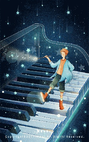 Анимация Мальчик стоит на клавишах пианино