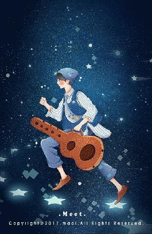 Анимация Мальчик в окружении звезд с футляром для гитары