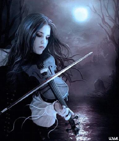 Анимация Девушка играет на скрипке на фоне луны и лесного озера, исходник - художник Elena Dudina / Елена Дудина