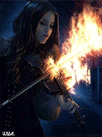 Конкурсная работа Девушка играет на скрипке с горящим смычком, исходник-художница Ana Fagarazzi