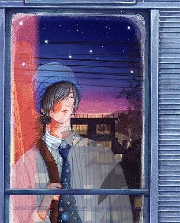 Анимация Парень стоит за окном мчащегося поезда, by Maoi