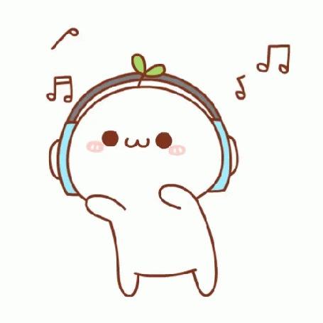 Анимация Мем с листочками на голове слушает музыку и танцует