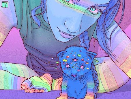 Анимация Девушка трехглазый котенок с радугой, by PHAZED