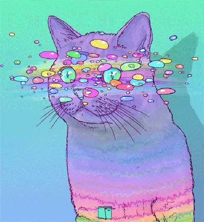 Анимация Кошка с радужной шерстью, by PHAZED