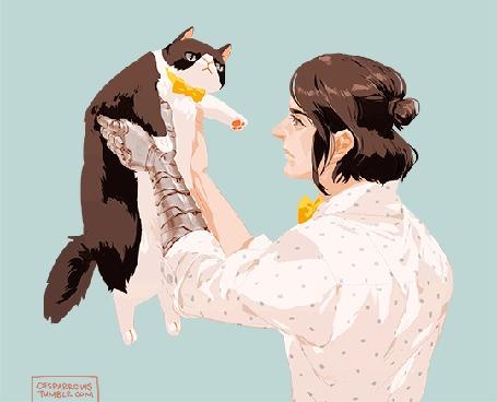 Анимация Парень с металлической рукой держит на руках кошку, by ofsparrows