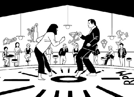 Анимация Танец Джона Траволты и Умы Турман в Криминальном чтиве