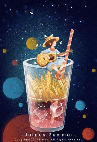 Конкурсная работа Девочка в шляпе сидит на стакане с водой и пшеницей и играет на гитаре, Juices Summer