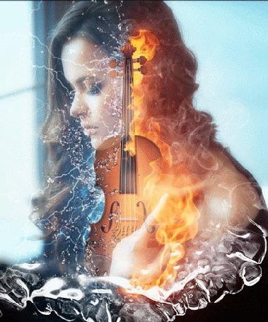 Анимация Девушка и скрипка в огне и водной стихии