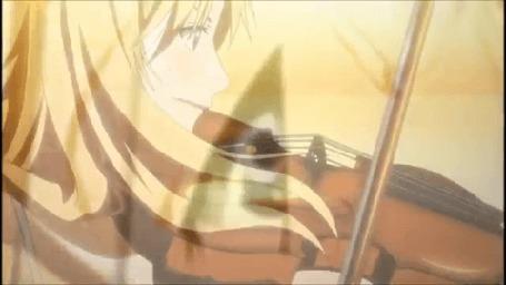 Анимация Каори Миязоно / Kaori Miyazono играет на скрипке, аниме Твоя апрельская ложь / Shigatsu wa Kimi no Uso