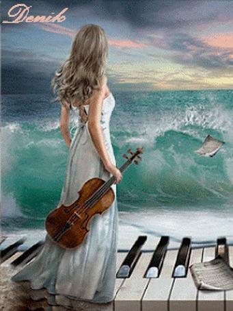 Анимация Девушка со скрипкой в руках стоит на клавишах фортепиано на фоне бушующего моря, Denik