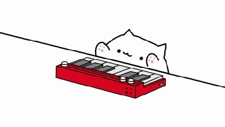 Анимация Кот Пушин играет на пианино