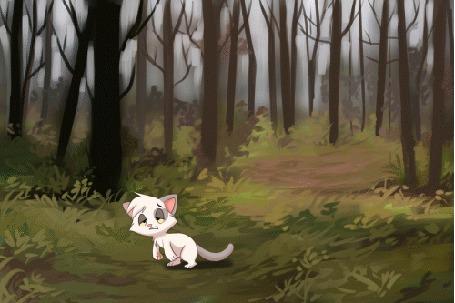 Анимация Кошка подпрыгивает и превращается в дракончика, by TUWKA