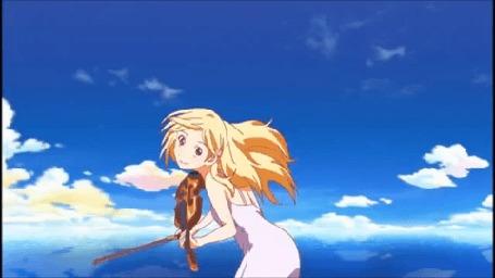 Анимация Каори Миязоно / Kaori Miyazono со скрипкой и смычком в руках, аниме Твоя апрельская ложь / Shigatsu wa Kimi no Uso