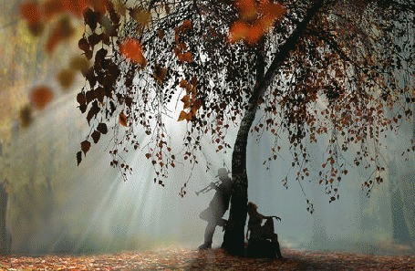Анимация Девушка сидит, а парень стоит у осеннего дерева и играет на трубе